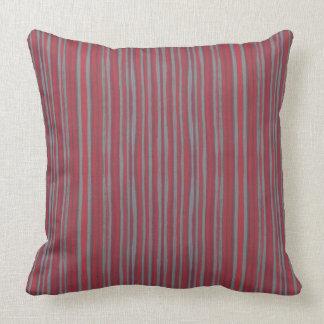 Gray & red stripes, striped pattern, narrow stripe throw pillow