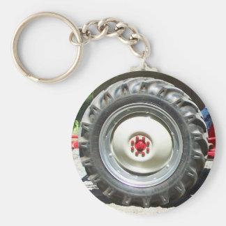 gray red tractor wheel basic round button keychain