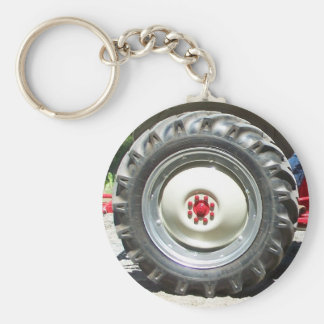 gray red tractor wheel keychain
