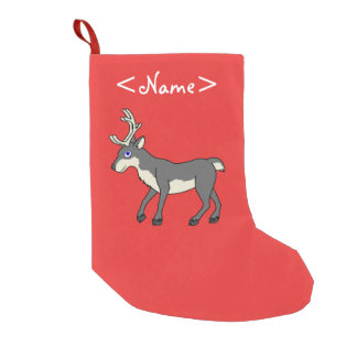 Gray Reindeer with Antlers Small Christmas Stocking