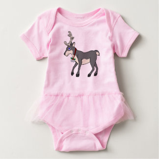 Gray Reindeer with Jingle Bells & Christmas Holly Baby Bodysuit