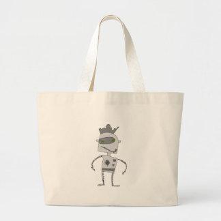 Gray Robot Buddy Large Tote Bag