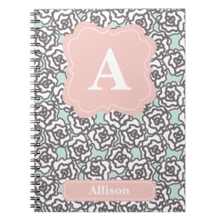 Gray Roses and Pink Monogram Notebooks