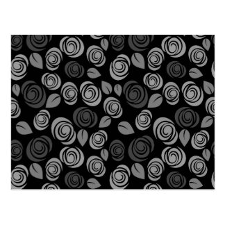 Gray roses pattern postcard