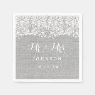 Gray Rustic Burlap Lace Wedding Paper Napkins