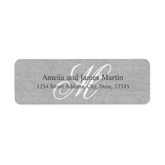 Gray Rustic Burlap Monogram for Weddings Label