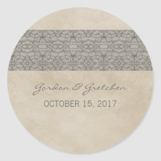 Gray Rustic Lace Wedding Stickers