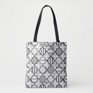 Gray-scale Modern Patch Stripe tote bag.
