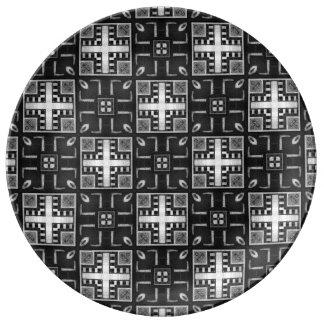 Gray Scale Modern Pattern 235 Porcelain Plate