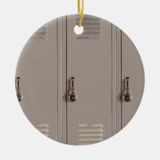 Gray School Lockers, High School Student Round Ceramic Ornament