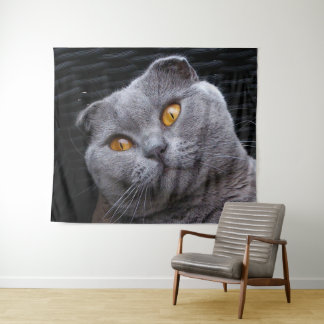 Gray scottish fold cat tapestry