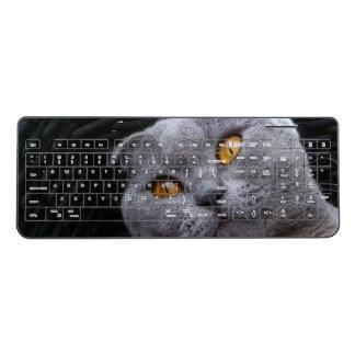 Gray scottish fold cat wireless keyboard
