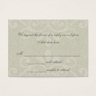 Gray Scroll Wedding Response Card