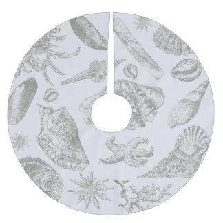 Gray Seashell Art Print Pattern Beachy Brushed Polyester Tree Skirt