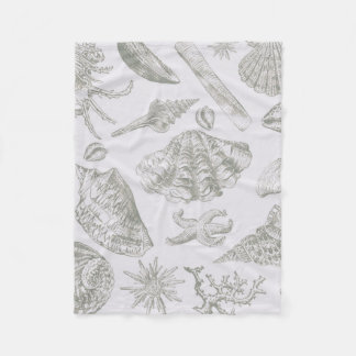 Gray Seashell Art Print Pattern Beachy Fleece Blanket