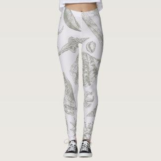 Gray Seashell Art Print Pattern Beachy Leggings