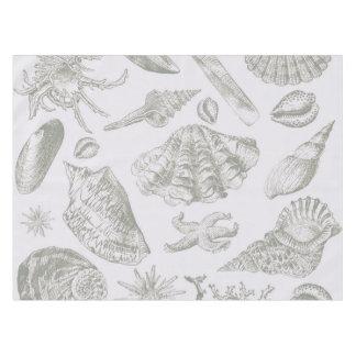 Gray Seashell Art Print Pattern Beachy Tablecloth
