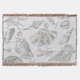 Gray Seashell Art Print Pattern Beachy Throw Blanket
