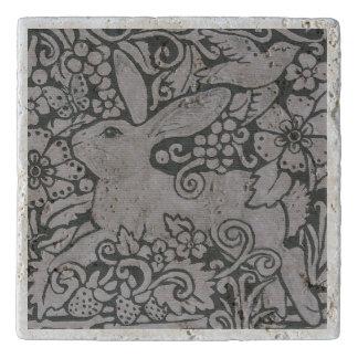 Gray Shades Rabbit Bird Travertine Tile Trivet