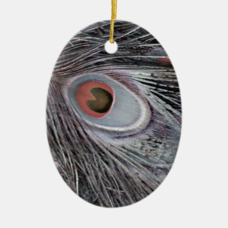 Gray Shadow Feather Ceramic Ornament