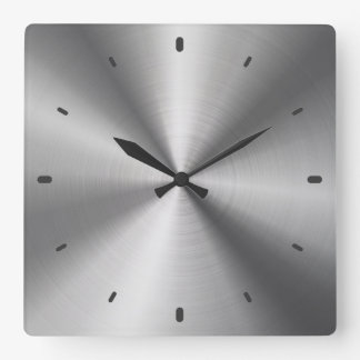 Gray Shiny Metallic Design-Stainless Steel Look Wall Clocks