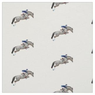 Gray Show Jumper Horse Equestrian Fabric