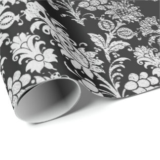 Gray Silver Black Foil  Floral Elegant Metallic Wrapping Paper