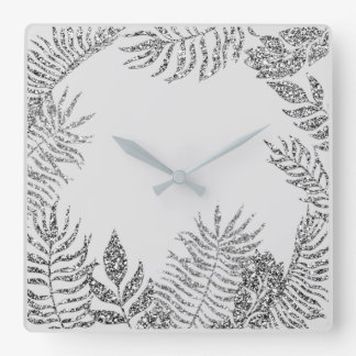 Gray Silver Black Metallic Palm Botanical Glitter Square Wall Clock