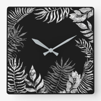 Gray Silver Black  Metallic Palm Botanical Steel Square Wall Clock