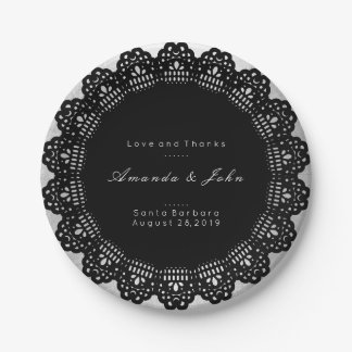 Gray Silver Black White Wreath Wedding Paper Plate