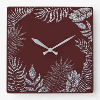 Gray Silver Burgundy Red Palm Botanical Glitter Square Wall Clock