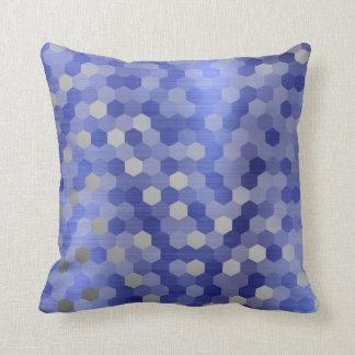 Gray Silver Cobalt Sapphire Blue Hexagon Geometry Throw Pillow