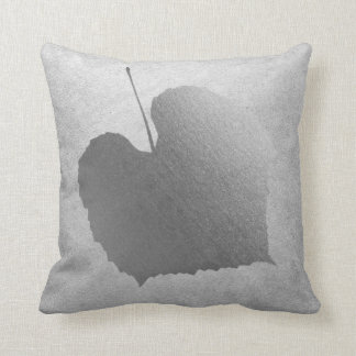 Gray Silver Cottage Botanical Minimal Birch Leaf Throw Pillow