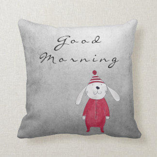 Gray Silver Cottage Sweet White Rabbit Candy Throw Pillow