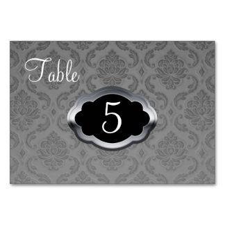 Gray Silver Damask Table Number Card