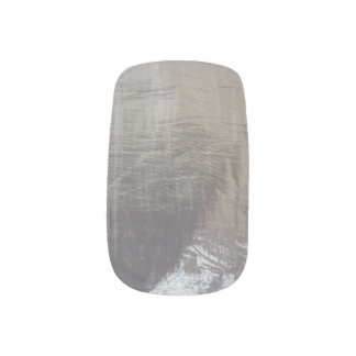 Gray Silver Foil Look Minx Party Nail Art