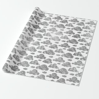 Gray Silver Glitter Clouds Wrap Sweet Wrapping Paper