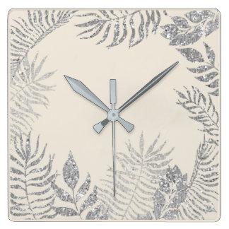 Gray Silver Ivory Metallic Palm Botanical Pastel Square Wall Clock
