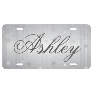 Gray Silver Star License Plate