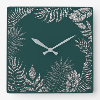 Gray Silver Teal Metallic Palm Botanical Glitter Square Wall Clock