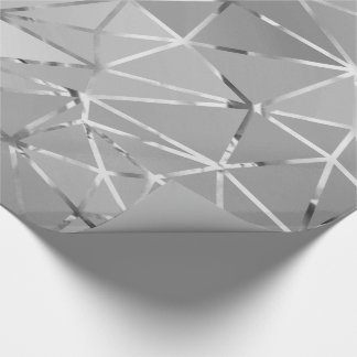 Gray Silver Triangles Diamond Cut Hexagon Geometry Wrapping Paper
