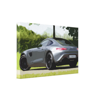 Gray Silvery Sports Car Canvas