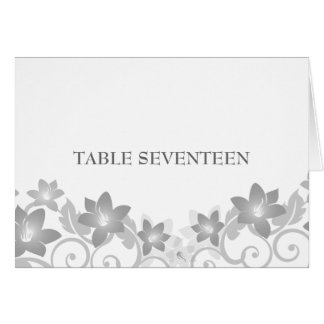 Gray Simple Floral Table Number Card