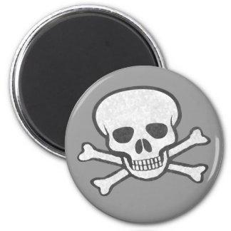 Gray Skull & Crossbones Magnet
