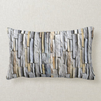 Gray Slate Brick Wall accent Lumbar Pillow
