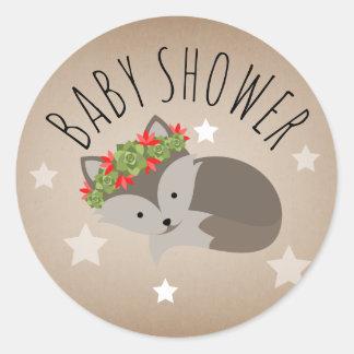 Gray Sleepy Fox Stars Girl Baby Shower Sticker