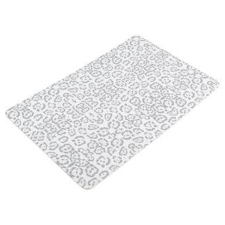 Gray Snow Leopard Cat Animal Print Floor Mat
