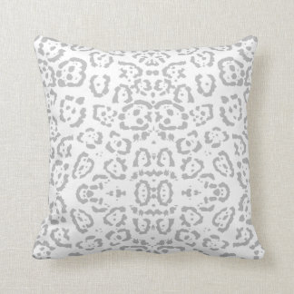 Gray Snow Leopard Cat Animal Print Throw Pillow