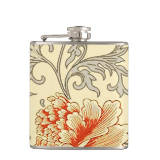 Gray Soft Floral Pattern Artwork Print Flowers Hip Flask