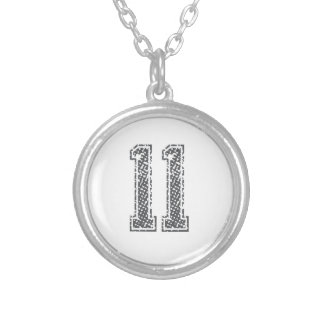 Gray Sports Jersey #11 Silver Plated Necklace
